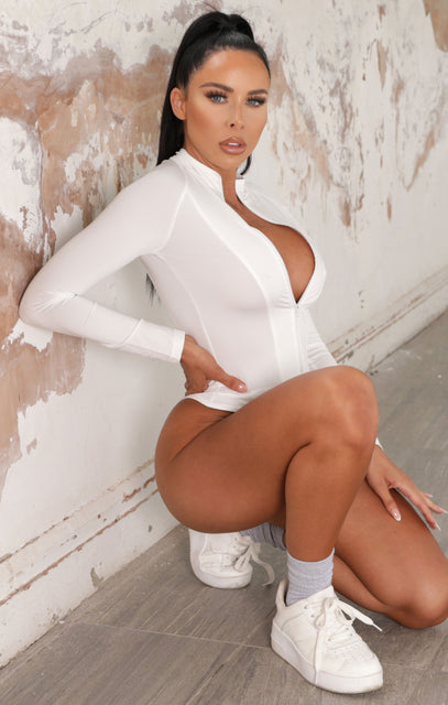 White Zip Up Long Sleeve Bodysuit - Zeta