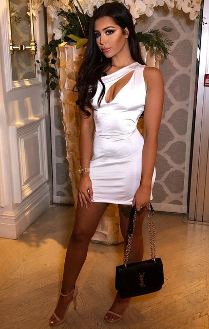 White Slinky Cutout One Shoulder Bodycon Dress- Camellia