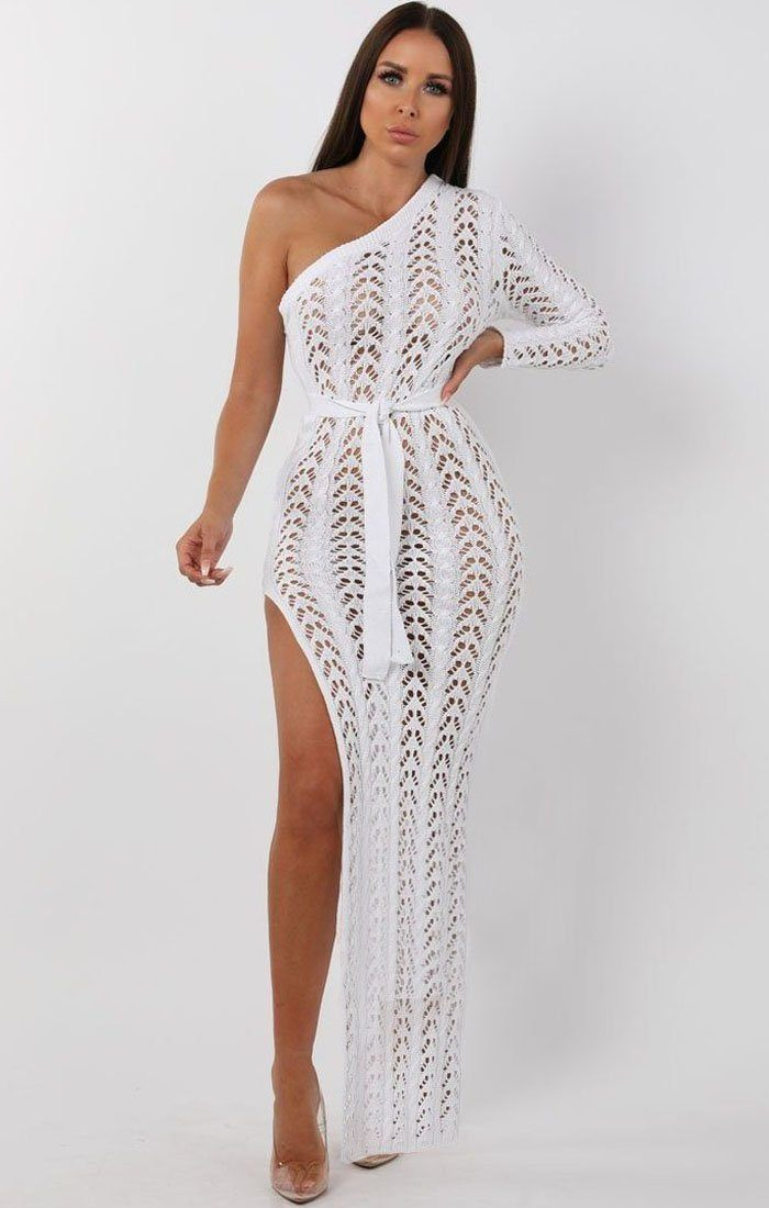 White Crochet One Shoulder Maxi Dress - Skylar