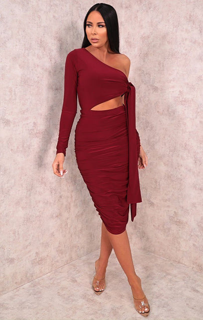 Wine One Shoulder Tie Side Midi Dress - Lola