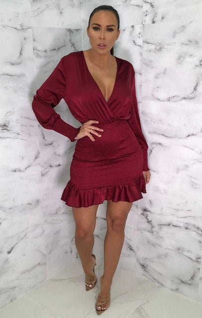 Wine Plunge Cuff Sleeve Bodycon Mini Dress - Teey