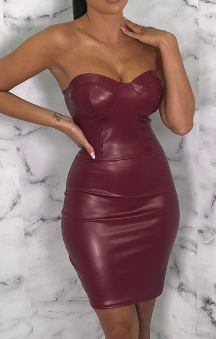 Wine PU Cupped Corset Bodycon Mini Dress - Verona
