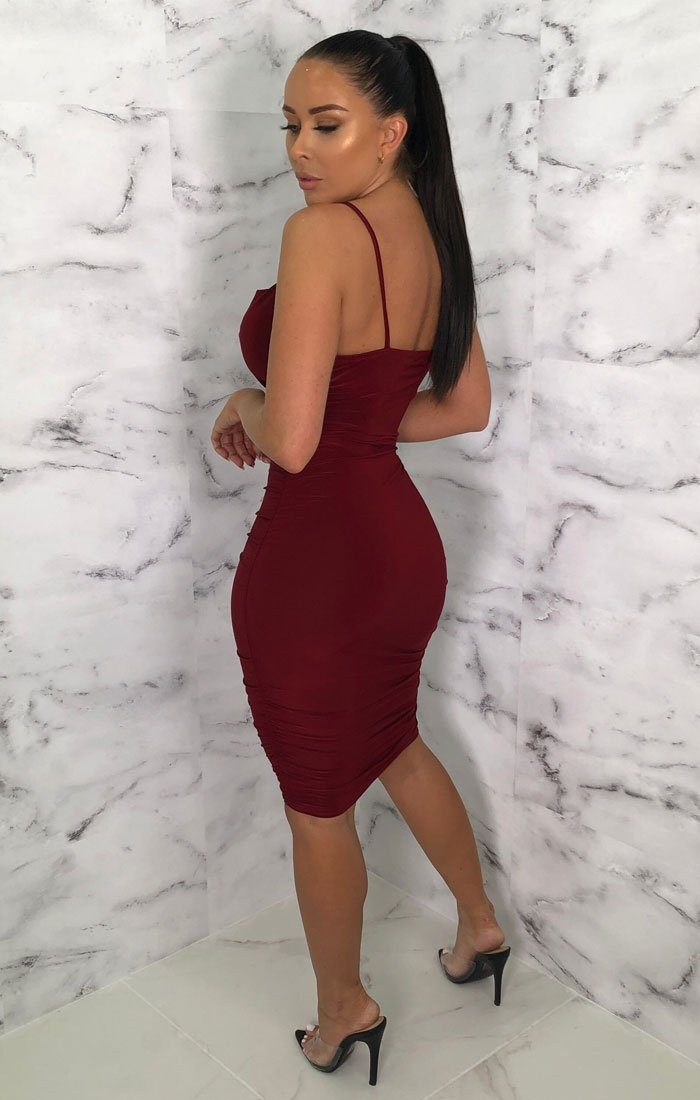Wine Ruched Cowl Neck Bodycon Mini Dress - Sofie