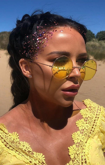 Yellow Octagon Thin Frame Sunglasses - Elisa