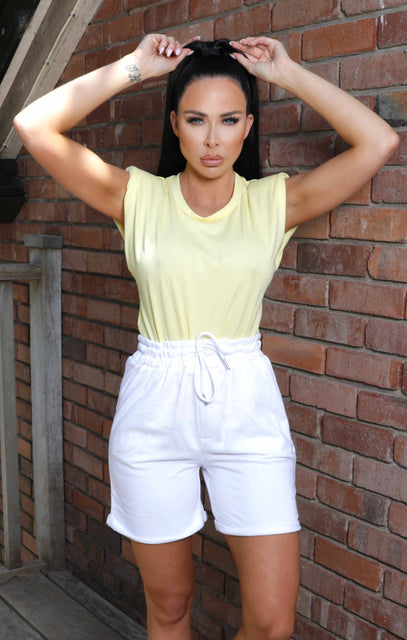 Yellow Puff Shoulder Sleeveless Top - Joanna