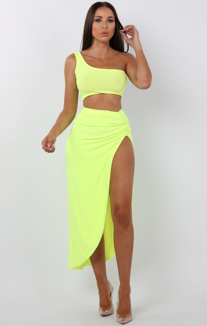Neon Yellow Ruched Side Split Maxi High Waist Skirt - Kim