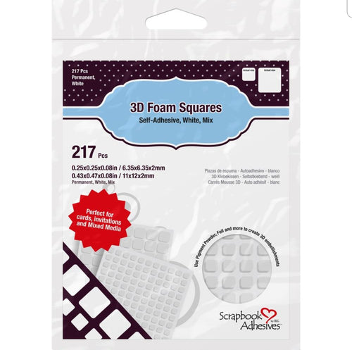 Scrapbook Adhesives 3D Foam Squares Variety Pack 217/Pkg  White (63) .5