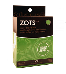 "Zots Clear Adhesive Dots  Medium 3/8""X1/64"" Thick 300/Pkg"