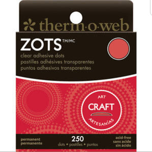 "Zots Clear Adhesive Dots  Craft size 1/2""X1/16"" Thick 250/Pkg"
