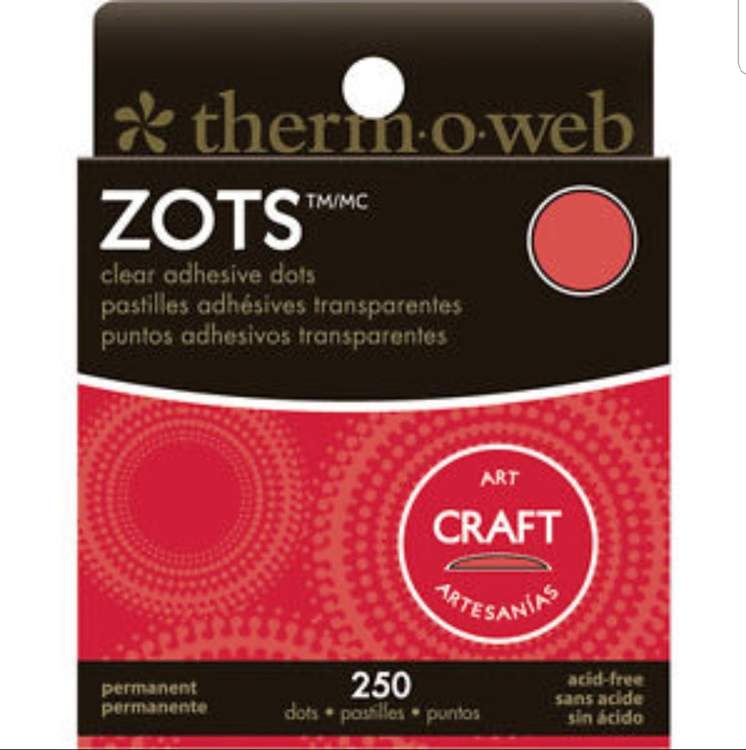 Zots Clear Adhesive Dots  Craft size 1/2