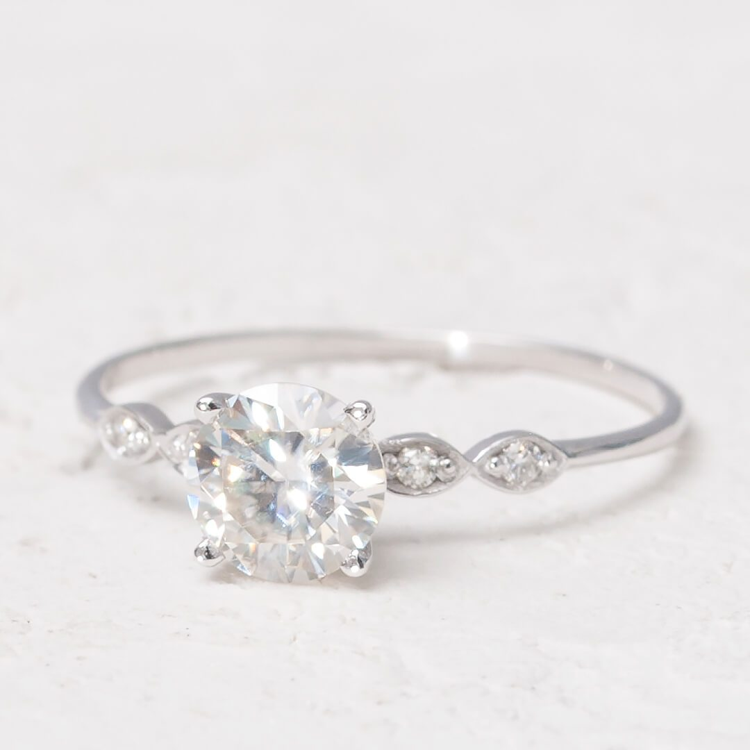 Moissanite Ring with Diamonds