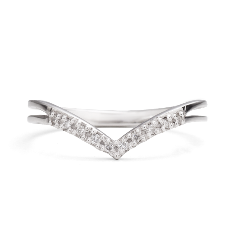 White Gold Chevron Ring