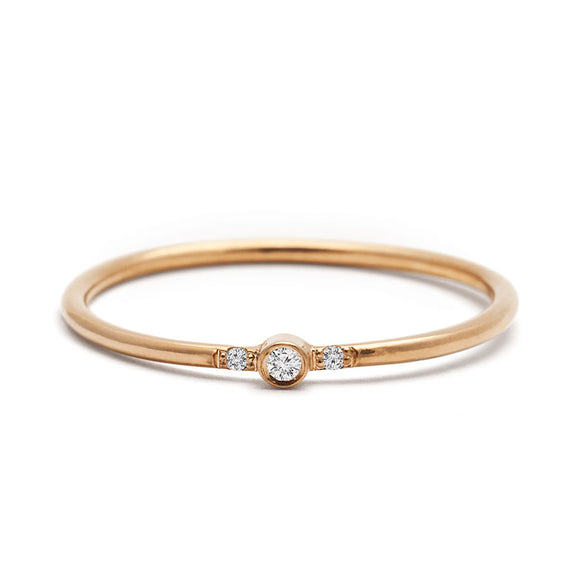 Dainty Ring with Three Diamonds