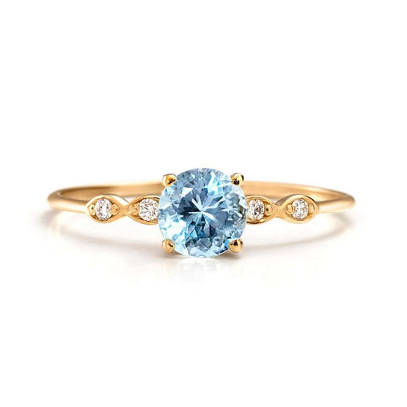 Aquamarine Engagement Ring 14K Gold | one2threejewelry.com