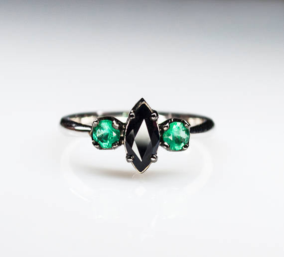 Black Sapphire Engagement Ring with Emeralds