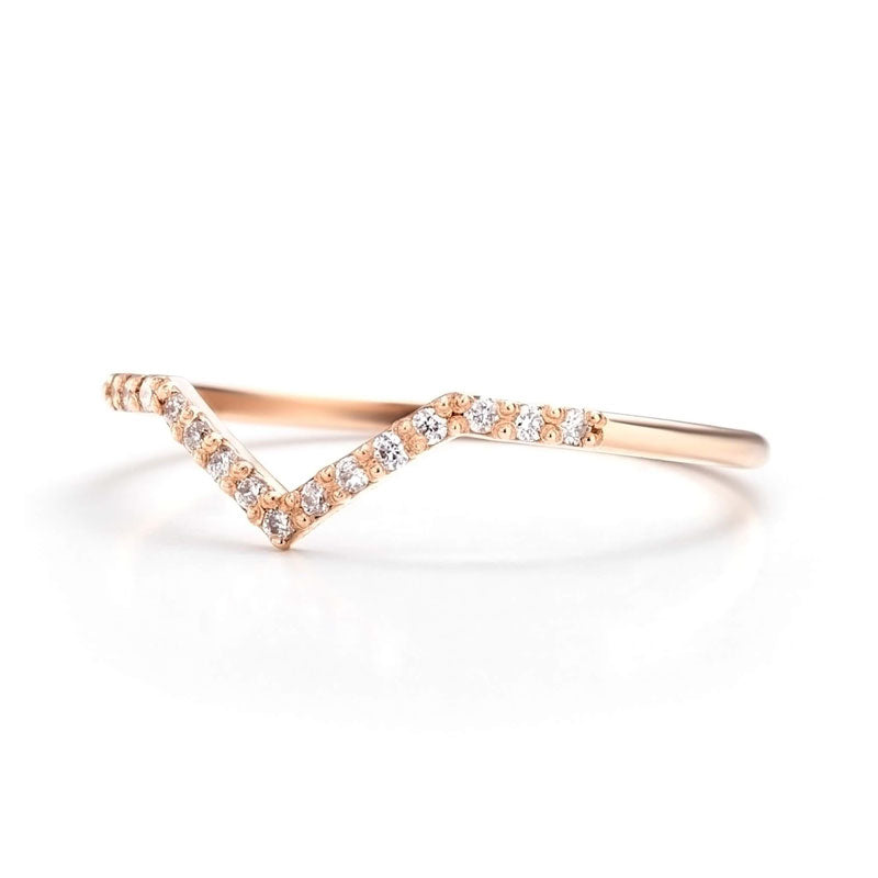 14K Gold Chevron Ring for women 6 | one2threejewelry.com