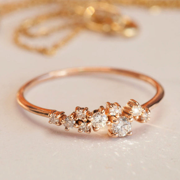 Gold Cluster Diamond Ring