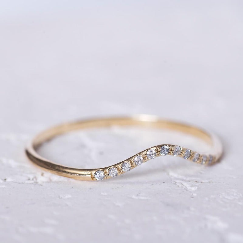 Curved Wedding Band_diamonds_14Kgold_one2threejewelry
