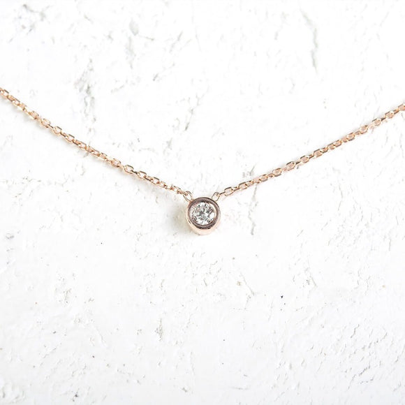 Round Cut Diamond Necklace_14KGOLD
