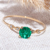 14K Gold Vintage Emerald Engagement Ring with diamonds 8 One2threejewelry.com