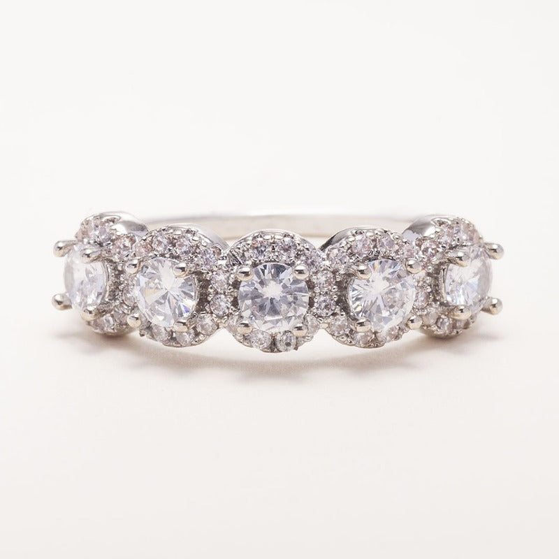 Five Stone Diamond Halo Engagement Ring-photo