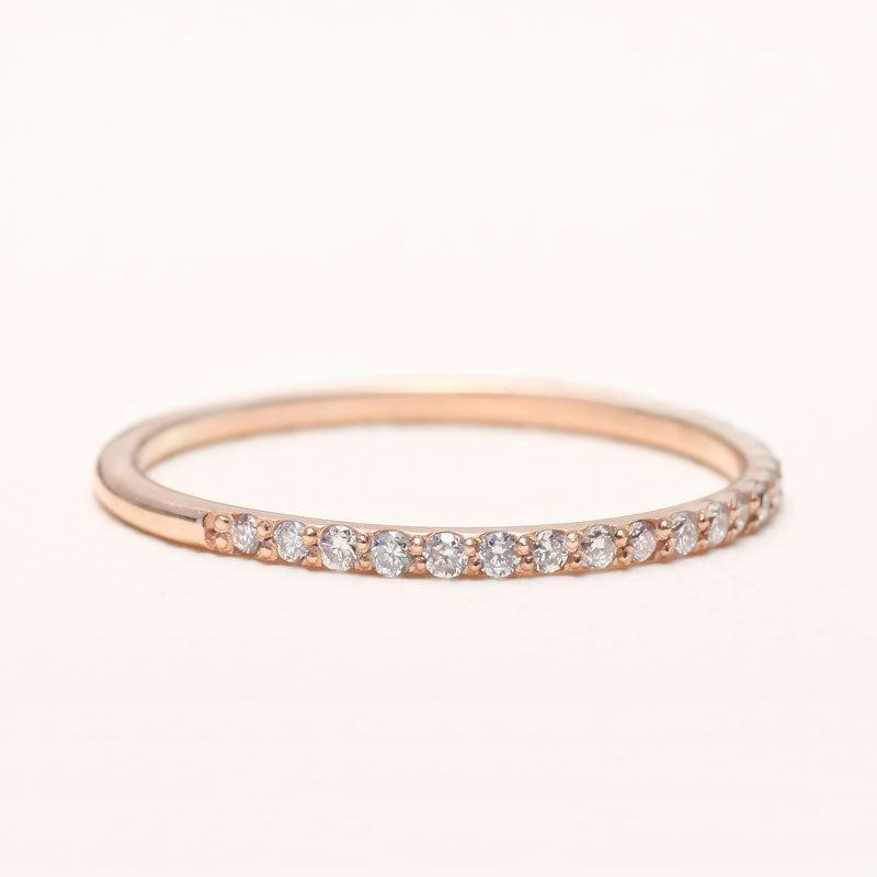 14K Gold Half Eternity Ring with diamonds | one2threejewelry.com