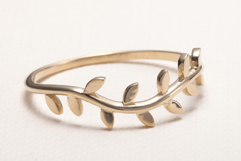 Olive Tree Branch Ring Gold Ring One2three Jewelry