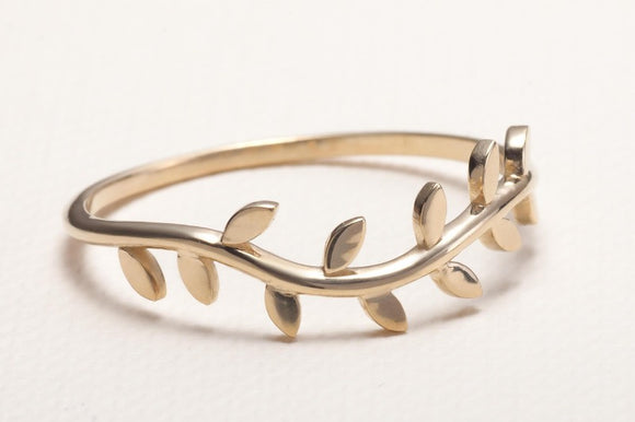 Olive Tree Branch Ring_14K_Yellow_Gold