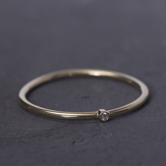 One2Three Jewelry Dainty Rings Yellow Solid Gold 14K One Diamond Dainty Ring