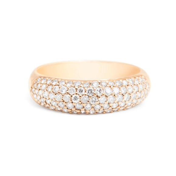 Wide pave diamond yellow gold wedding band for women