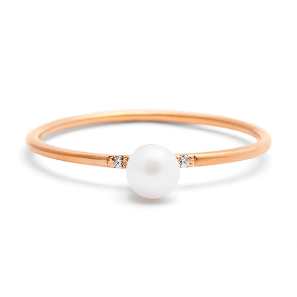 Pearl Ring with Diamonds | one2threejewelry.com