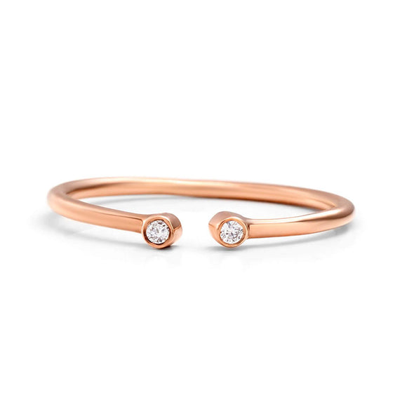 Rose Gold Open Ring with 2 diamonds | one2threejewelry.com