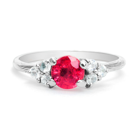 Engagement Ruby Ring with Diamonds