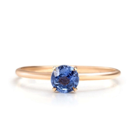 Blue Sapphire engagement ring | one2threejewelry.com