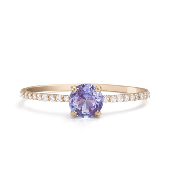 14K_Yellow_GOld_Tanzanite Engagement Ring_with_diamonds