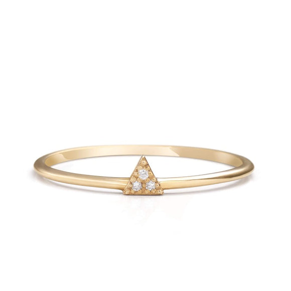 14K_yellow_gold_Triangle Diamond Dainty Ring