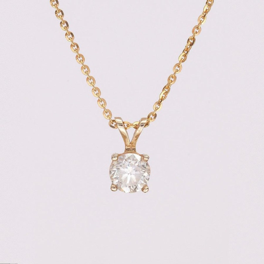 Moissanite Necklace_14K_Yeloow_Gold_Chain