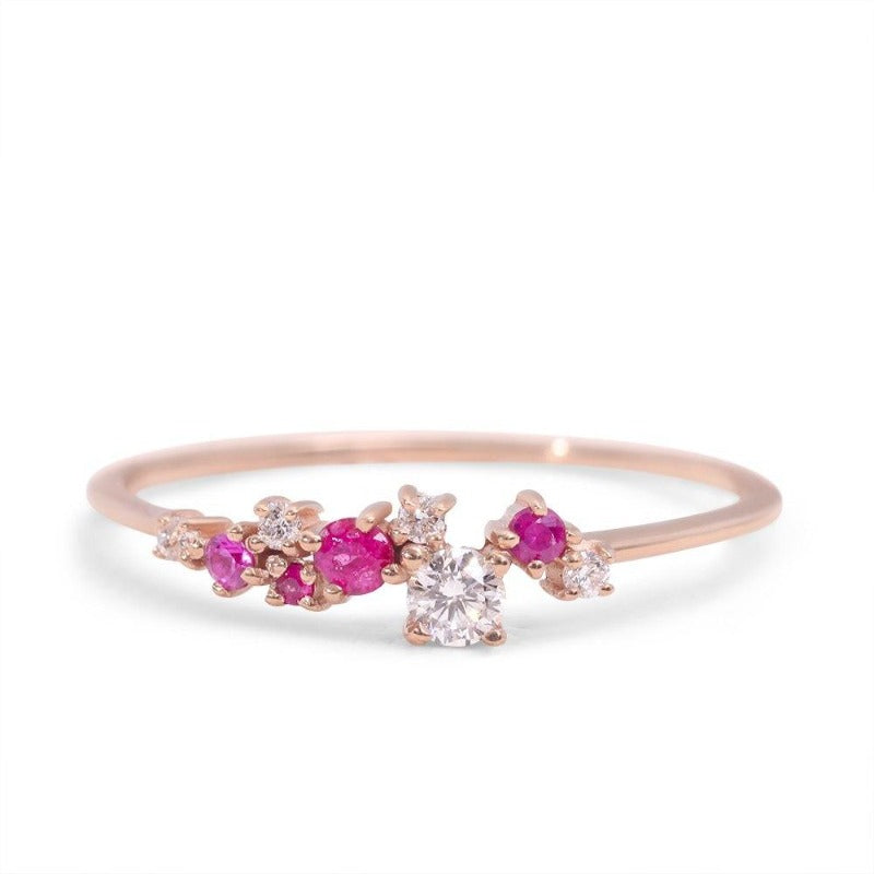 Dainty Ruby Ring for Women with Diamonds
