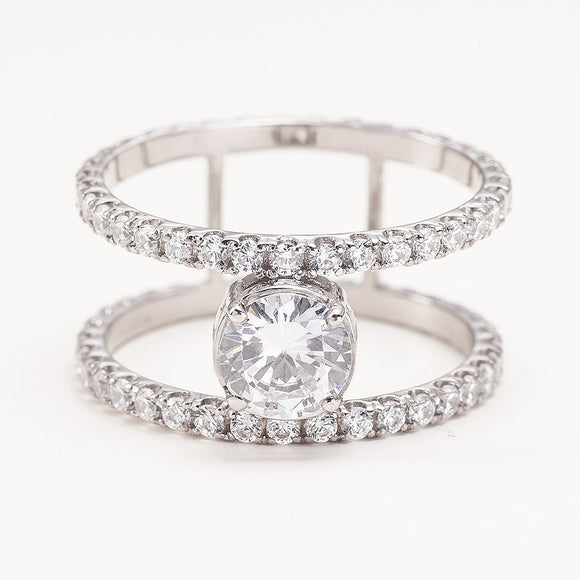 Double Band Engagement Ring with Moissanite_one2threejewelry_photo