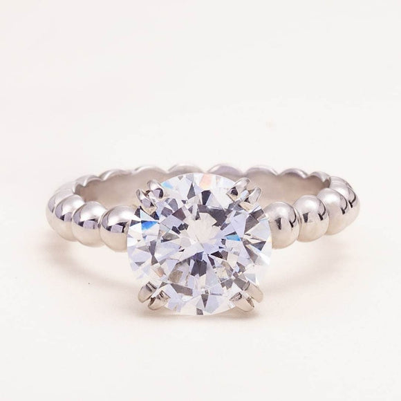 Beaded Engagement Ring with Moissanite_photo_one2threejewelry