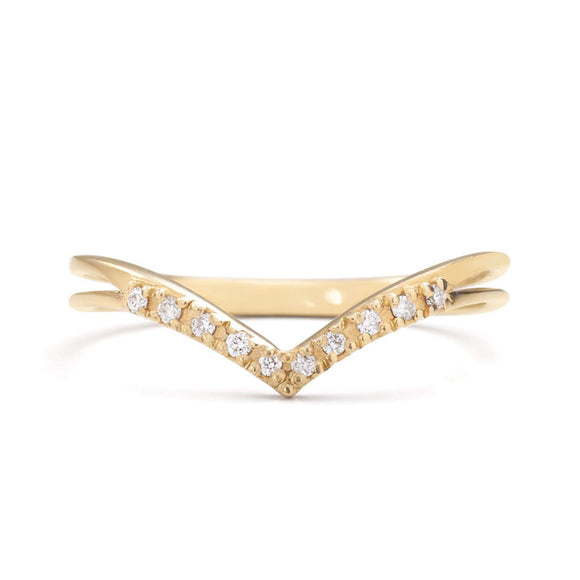 14K Gold Chevron V-Ring with diamonds | one2threejewelry.com