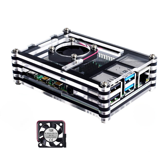 Case with Fan for Raspberry Pi 4B - Black & Clear