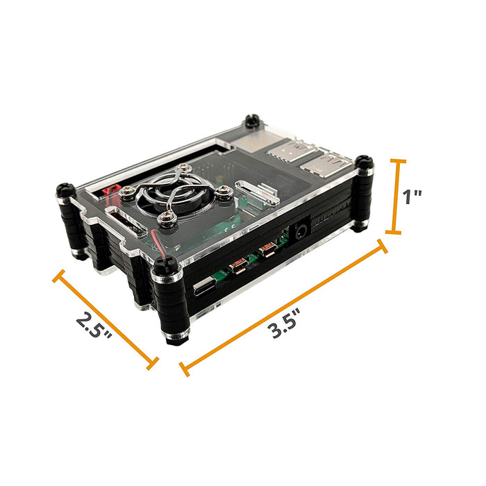 Hypercool Raspberry Pi 4 Model B Case with Cooling Fan and Heatsinks,  Acrylic Black & Clear (Only for Pi 4)