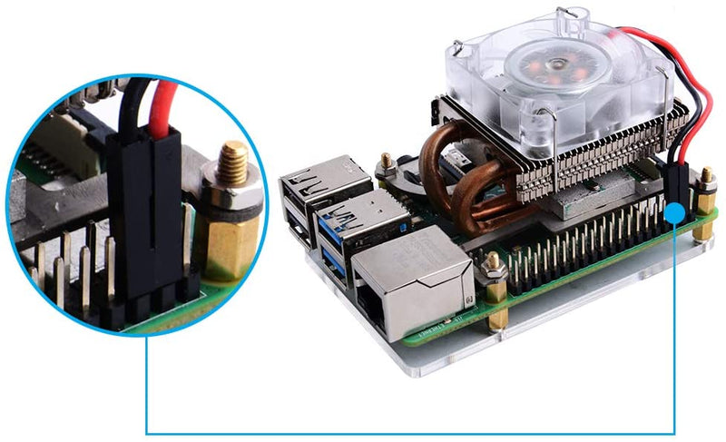 Low-Profile CPU Cooler with RGB Cooling Fan for Raspberry Pi 4