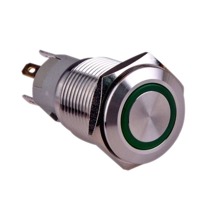 Rugged Metal On/Off Switch with Green LED Ring - 16mm Green On&Off Wholesale