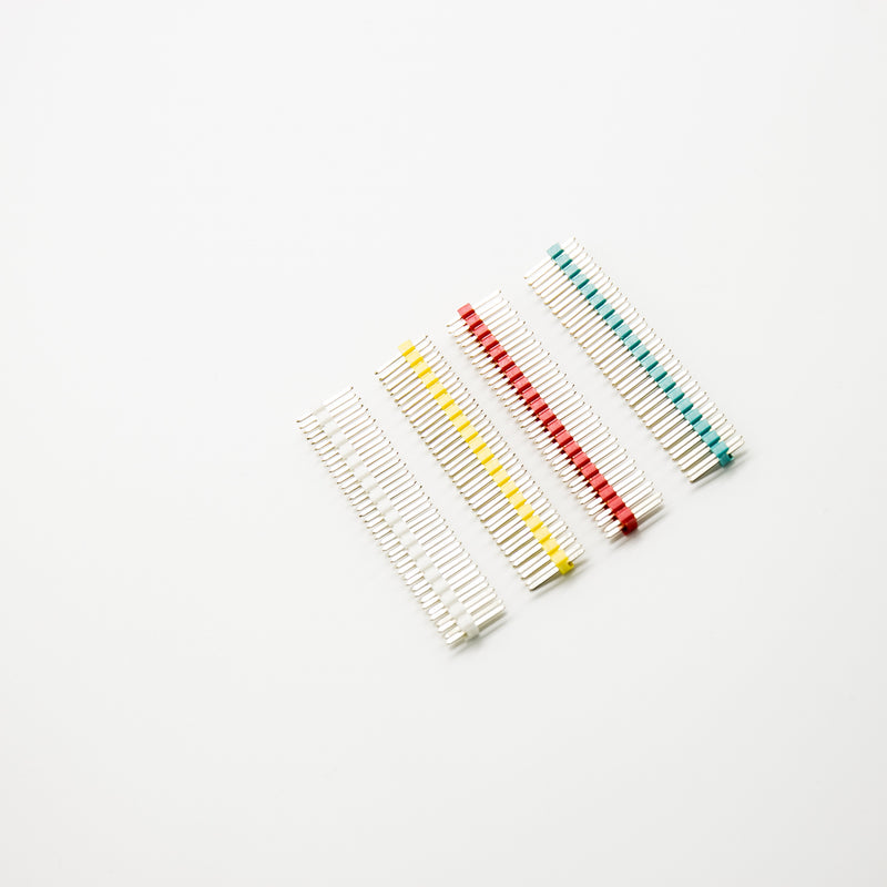 "White /Red/Yellow/Green 0.1"" 2X20 Double Row Pin Male Header Strip Copper-Plated Colorful With Raspberry Pi"