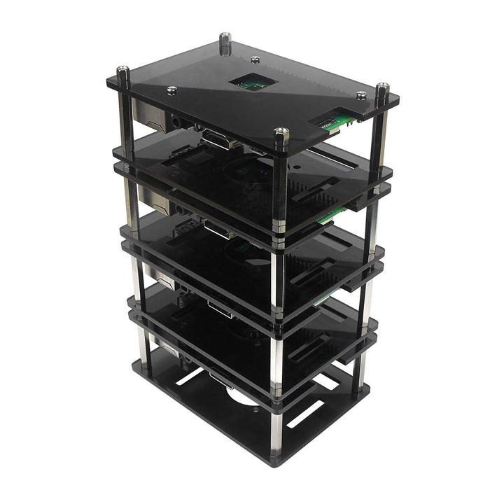 4 Layers Black Acrylic Stackable Case for Raspberry Pi 3 Model B+