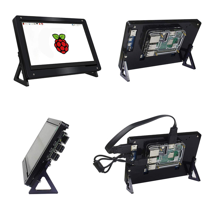 7 Inch Touchscreen LCD HDMI Input Display with Case for Raspberry Pi 3 Model B+