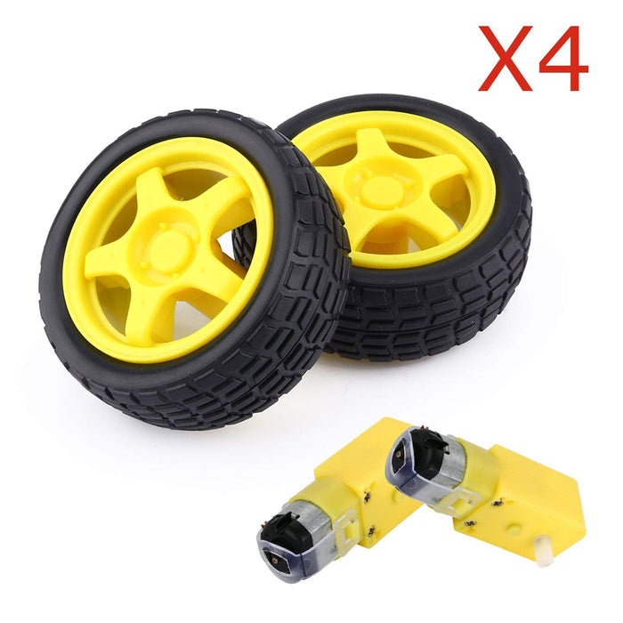 Odseven 4set Plastic Tire Wheels + DC Motor Gear Box For Smart Car Robot DIY