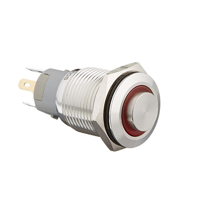 Rugged Metal Pushbutton with Red LED Ring - 16mm Red Momentary Wholesale